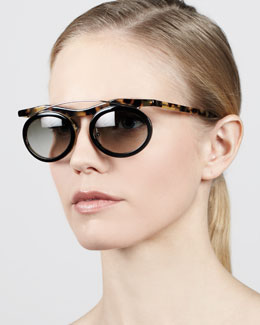 Prada Oval Arched Sunglasses, Black/Medium Havana