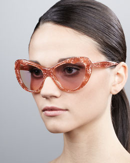 Miu Miu Glitter Cat-Eye Sunglasses, Rose