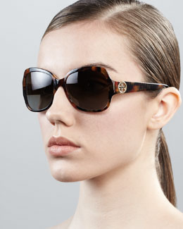 Tory Burch Logo-Temple Rectangle Sunglasses, Multicolor Havana