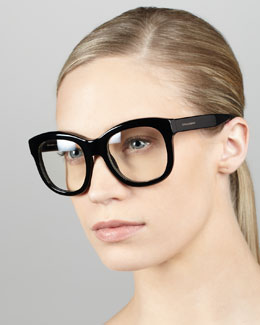 D&G Square Plastic Fashion Glasses, Shiny Black