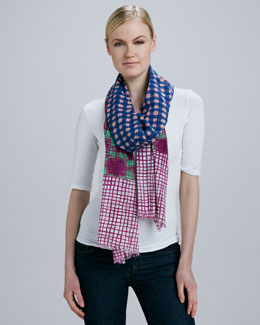 MARC by Marc Jacobs Mixed Check-Print Scarf, Orange/Navy/Fuchsia