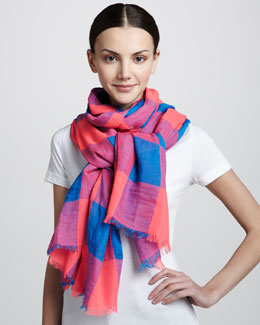 MARC by Marc Jacobs Stacey Gingham Scarf, Blue/Pink