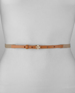Tory Burch Stretch Logo Stud-Buckle Belt