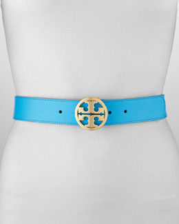 Tory Burch Classic Leather Tory Logo Belt, Turquoise