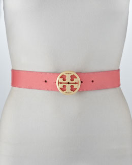 Tory Burch Classic Pebbled Leather Logo Belt, Rose Petal