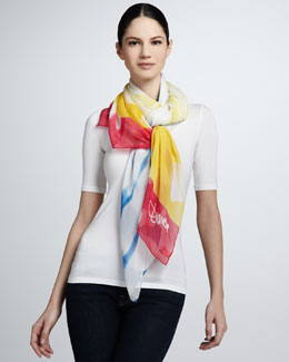 Diane von Furstenberg Bleached-Stripe Scarf, Red/Yellow/Blue
