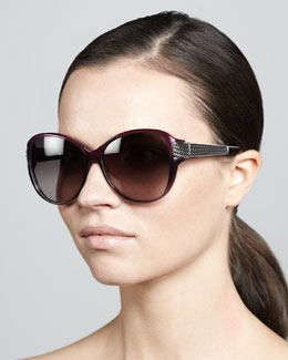 David Yurman Stretched Wheaton Sunglasses, Ametrine/Gunmetal