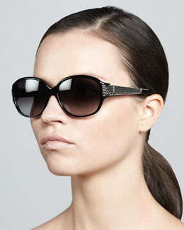 David Yurman Stretched Wheaton Sunglasses, Black Onyx/Gunmetal