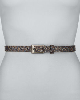 Rivette Paisley-Pattern Belt, Blue