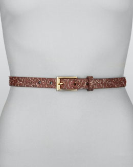 Rivette Paisley-Pattern Belt, Pink