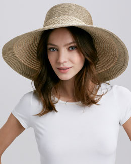 Eric Javits Swinger Wide-Brim Hat, Beige/Gold
