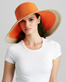 Eric Javits Swinger Wide-Brim Hat, Tangerine Mix