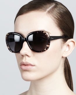 Dior Rounded Flower Sunglasses, Black