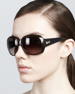 Gucci Logo-Arm Sunglasses, Brown