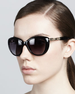 Jimmy Choo Wigmore Cat-Eye Chain-Arm Sunglasses, Shiny Black