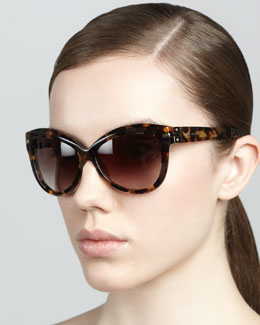 Marc Jacobs Rounded Cat-Eye Sunglasses, Dark Havana
