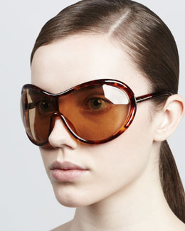 Tom Ford Grant Oversized Shield Sunglasses, Shiny Havana