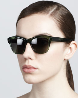 Oliver Peoples Sofee Rounded Sunglasses, Green