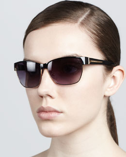 Givenchy Metal Rectangular Sunglasses, Black