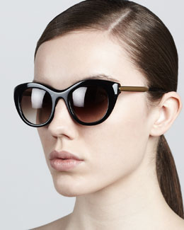 Thierry Lasry Poetry Soft Cat-Eye Sunglasses, Shiny Black