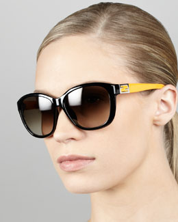 Fendi Contrast-Arm Sunglasses, Black