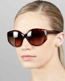 Fendi Sleek Logo-Temple Sunglasses, Havana
