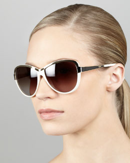 Fendi Two-Tone Sunglasses, Cream/Black