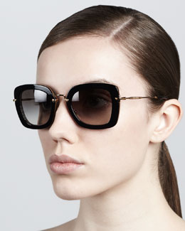 Miu Miu Glam Thick-Rim Sunglasses, Opal Gray