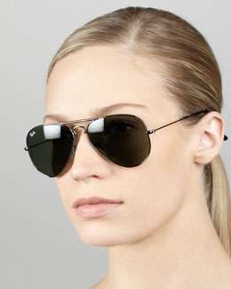 Ray-Ban Aviator Sunglasses, Gunmetal/Green