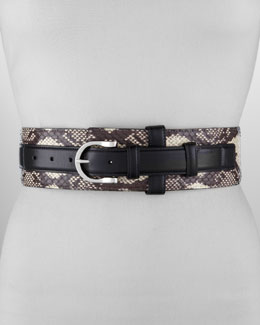 Oscar de la Renta Wide Snakeskin Leather-Strap Belt, Black