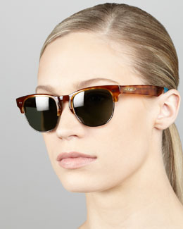 TOMS Eyewear Metal & Enamel Sunglasses, Honey/Tortoise