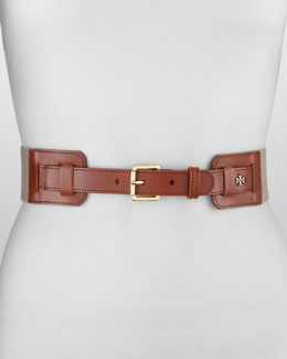 Tory Burch Kiley Leather Stretch Belt, Natural