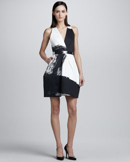 Kaufman Franco Brushstroke-Print Crossover Dress