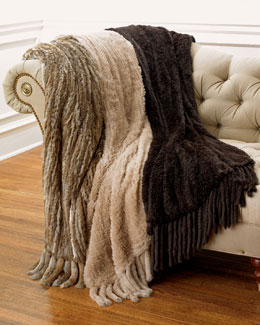 Adrienne Landau Rabbit-Fur Throw