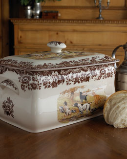 Spode Woodland Hunting Dogs Bread Bin