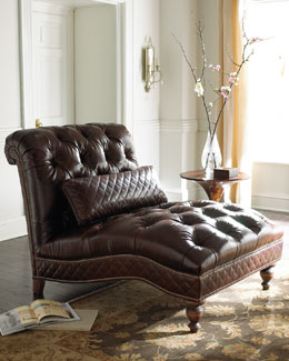 Old Hickory Tannery Mocha Leather Chaise