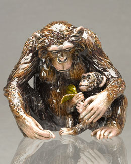 Jay Strongwater Chimp & Baby Figurine