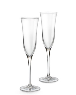 "Waterford Crystal Two ""Light"" Champagne Flutes"