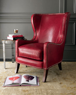 Massoud Red Leather Chair