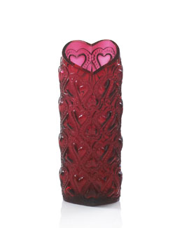 "Lalique Red ""Amour"" Vase"