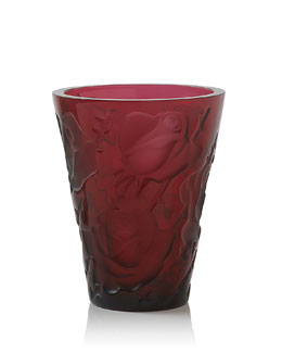 "Lalique Red ""Ispahan"" Vase"