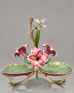 "Jay Strongwater ""Pearl"" Porcelain Triple-Leaf Server"