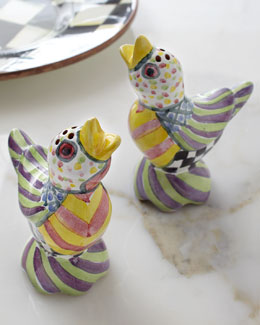 "MacKenzie-Childs ""Piccadilly"" Bird Salt & Pepper Shakers"