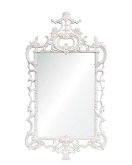 """White Lacquered """"Chippendale"""" Mirror"""