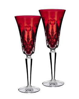 "Waterford Two ""I Love Lismore"" Red Flutes"