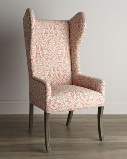 Pink Damask Wing Chair
