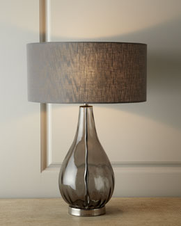 Smoky Gray Glass Table Lamp