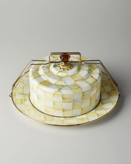 "MacKenzie-Childs ""Parchment Check"" Cake Carrier"