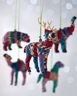 "Arcadia Home ""Artisan"" Hand-Wrapped Animal Christmas Ornaments"