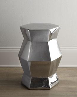 Silvery Ceramic Stool